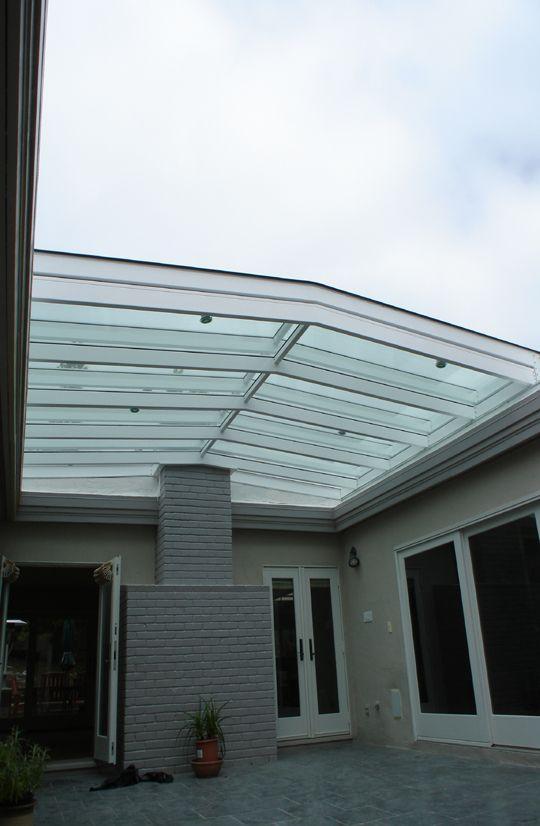 Glass atrium roof open